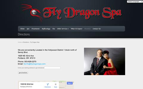 Screenshot of Maps & Directions Page flydragonspa.com - Directions - Fly Dragon Spa   Fly Dragon Spa - captured Sept. 30, 2014