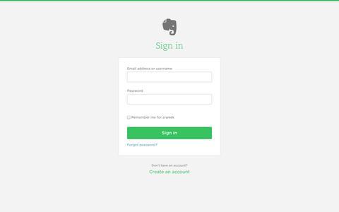 Screenshot of Login Page evernote.com - Welcome Back - captured Sept. 16, 2014