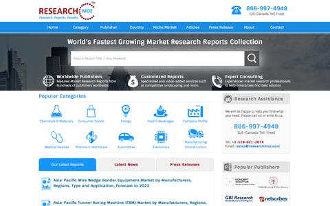 Screenshot of Home Page researchmoz.com - Market Research Reports, Industry Analysis and Market Share: ResearchMoz - captured Nov. 23, 2017