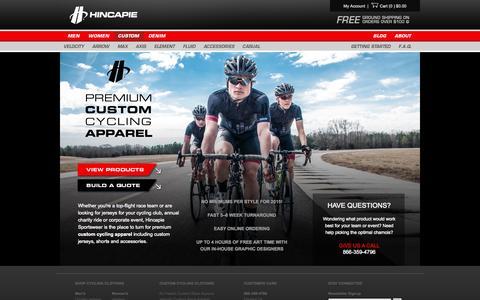 Screenshot of Products Page hincapie.com - Hincapie.com: Premium Custom Cycling Clothing - captured Nov. 2, 2014