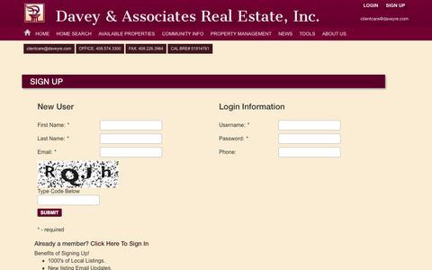 Screenshot of Signup Page daveyre.com - Search Alerts - Signup   Davey & Associates - (408)574-3300 - captured Oct. 5, 2014