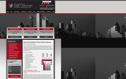 Screenshot of Home Page 214release.com - Dallas Criminal Defense Attorney | The Law Offices of Mark F. Fernandez - captured Feb. 16, 2016