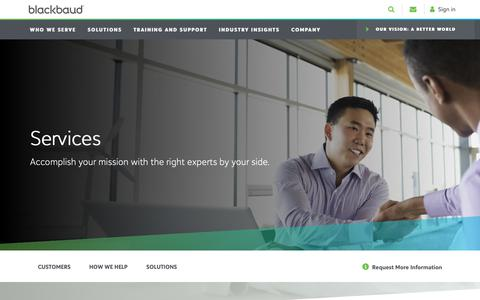 Screenshot of Services Page blackbaud.com - Service Solutions  | Blackbaud - captured Oct. 1, 2018