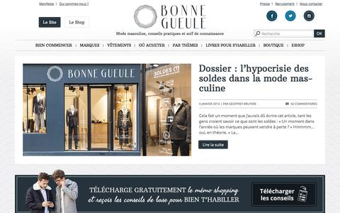 Screenshot of Home Page bonnegueule.fr - Mode homme | Conseils en style et Vêtements BonneGueule - captured Jan. 6, 2016