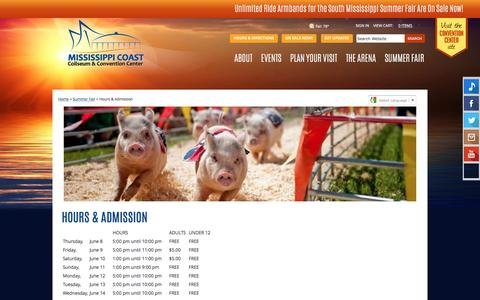 Screenshot of Hours Page mscoastcoliseum.com - South Mississippi Summer Fair Hours & Admission - captured May 27, 2017