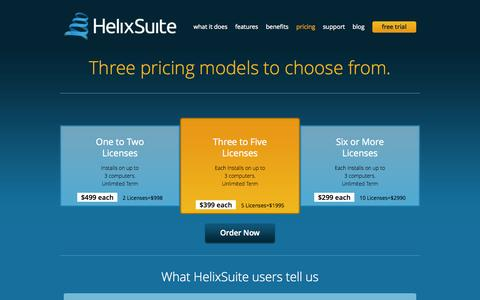 Screenshot of Pricing Page helixsuite.com - Pricing « HelixSuite - captured Sept. 29, 2014