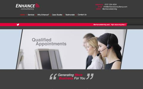 Screenshot of Home Page enhanceconsultancy.com - Construction Telemarketing | Enhance Consultancy - captured Oct. 2, 2014