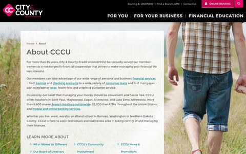 Screenshot of About Page cccu.com - CCCU > About - captured May 31, 2018
