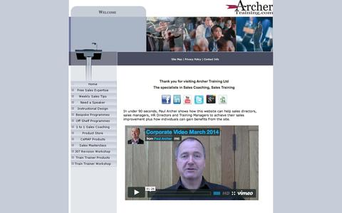Screenshot of Home Page archertraining.co.uk - Sales Expertise in financial services - captured Oct. 4, 2014