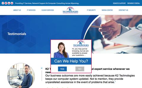 Screenshot of Testimonials Page k2technologies.net - Testimonials Archive - K² Technologies - captured Sept. 20, 2018