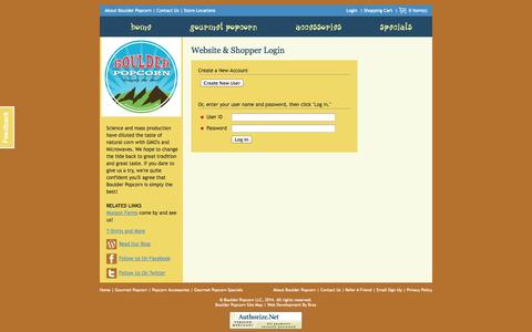 Screenshot of Login Page boulderpopcorn.com - Website & Shopper Login   Boulder Popcorn - captured Oct. 5, 2014