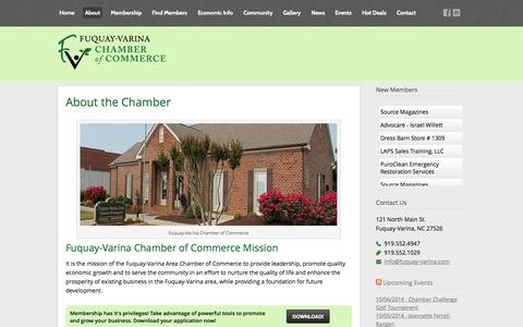 Screenshot of About Page fuquay-varina.com - About the Chamber - Fuquay-Varina Chamber of Commerce - captured Oct. 6, 2014