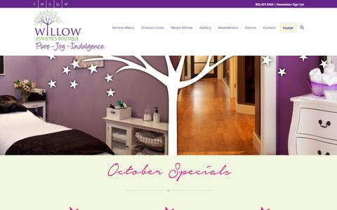 Screenshot of Home Page willowesthetics.ca - Willow Esthetics Boutique | Halifax | Facials | Manicures | Pedicures - captured Oct. 6, 2014