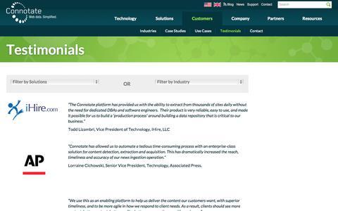 Screenshot of Testimonials Page connotate.com - Customer Testimonials   Connotate   Web Data. Simplified - captured Oct. 10, 2014