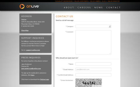 Screenshot of Contact Page onlive.com - Contact Us - captured July 20, 2014