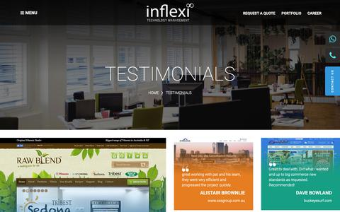Screenshot of Testimonials Page inflexi.com - Testimonial - Web Design, eCommerce Development, Digital Marketing - captured Oct. 13, 2018