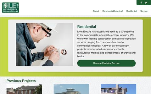 Screenshot of Services Page lynnelectric.com - Lynn Electric LLC - Residential - captured May 23, 2017