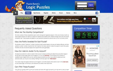 Screenshot of FAQ Page logic-puzzles.org - Logic Puzzles - Frequently Asked Questions - captured Sept. 22, 2018