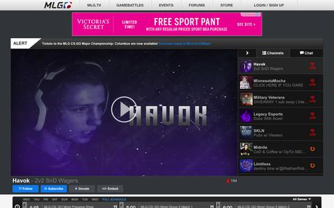 Screenshot of Home Page majorleaguegaming.com - Major League Gaming - captured Jan. 13, 2016
