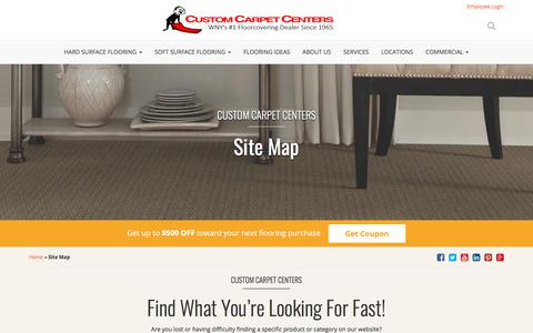 Screenshot of Site Map Page customcarpetcenters.com - Sitemap - Custom Carpet Centers WNY's #1 Floorcovering Center - captured July 22, 2018