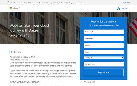 Screenshot of Landing Page microsoft.com - Microsoft Azure webinar | Starting your cloud journey with Azure Government - captured March 3, 2018