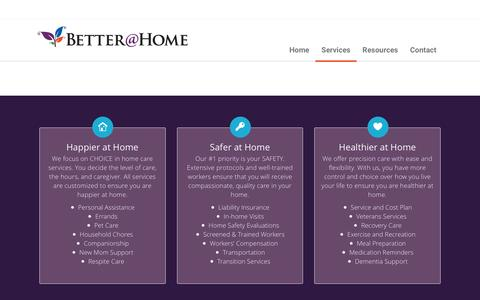 Screenshot of Services Page betterathome.us - Services - Better At Home - captured April 17, 2016