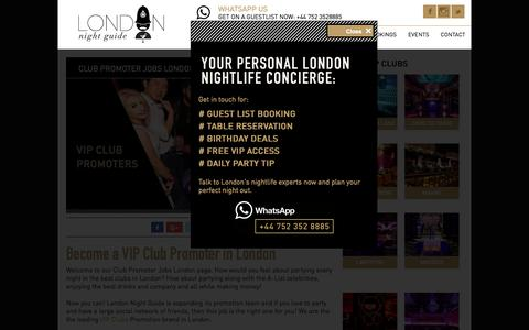 Screenshot of Jobs Page londonnightguide.com - Club Promoter Jobs London - London Night Guide - captured Sept. 26, 2018