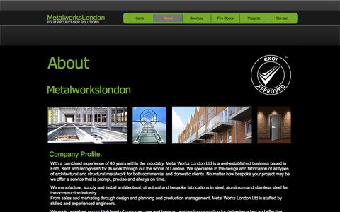 Screenshot of About Page metalworkslondon.co - Architectural and structural metal works - captured July 26, 2018