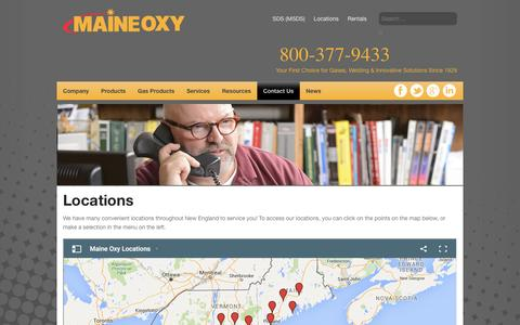 Screenshot of Locations Page maineoxy.com - Locations - Maine Oxy | Specialty Gases and Welding Supplies - captured July 20, 2016
