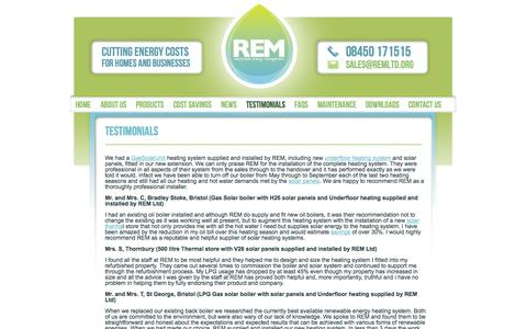 Screenshot of Testimonials Page remltd.org - Our Testimonials - REM (Responsible Energy Management) - captured Oct. 6, 2014