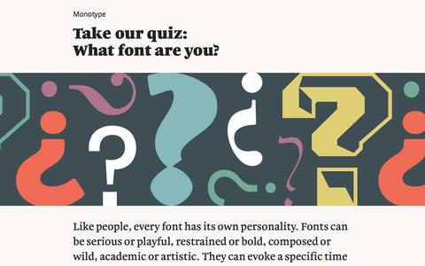 Screenshot of Landing Page monotype.com - Take our quiz   Monotype - captured March 3, 2018