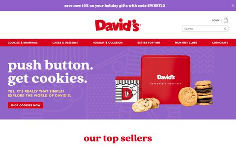 Screenshot of Home Page davidscookies.com - Davids Cookies: Cookie Delivery | Gift Baskets | Fresh Baked - captured Nov. 21, 2018