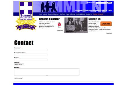 Screenshot of Contact Page summitems.org - Contact | Summit Volunteer First Aid Squad - captured Oct. 7, 2014