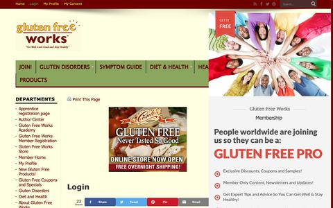 Screenshot of Login Page glutenfreeworks.com - Login | Gluten Free Works - captured Sept. 29, 2018