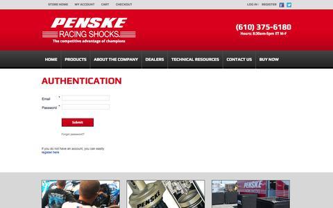Screenshot of Login Page penskeshocks.com - Penske Shocks / Authentication - captured Oct. 2, 2014