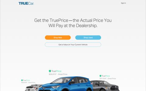 Screenshot of Home Page truecar.com - Car Prices, Owner Reviews & Inventory | New & Used Cars | TrueCar - captured Jan. 9, 2019