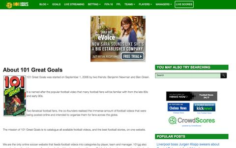 Screenshot of About Page 101greatgoals.com - About 101 Great Goals - Football (soccer) highlights, goals, videos & clips | 101 Great Goals test - captured Dec. 2, 2015