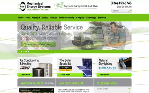 Screenshot of Home Page mes1.com - Mechanical Energy Systems - captured Oct. 4, 2014
