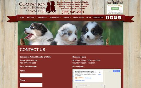 Screenshot of Contact Page cahwaller.com - Contact a Veterinarian in Waller TX   Companion Animal Hospital of Waller - captured Aug. 19, 2017