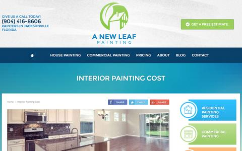 Screenshot of Pricing Page anewleafpainting.com - How Much Does Interior Painting Cost Jacksonville FL - A New Leaf Painting Service - captured Nov. 1, 2016