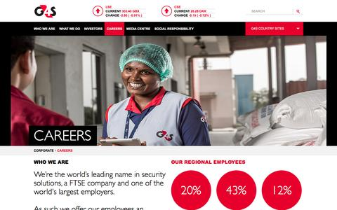 Screenshot of Jobs Page g4s.com - Careers - captured March 31, 2017