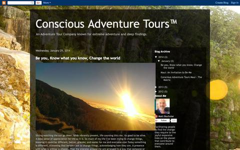 Screenshot of Home Page consciousadventuretours.blogspot.com - Conscious Adventure Tours™ - captured Oct. 21, 2018