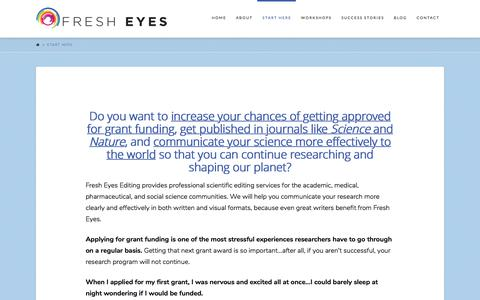 Screenshot of Contact Page fresheyesediting.com - Start Here - Grant Application and Scientific Manuscript Editing - captured June 6, 2017