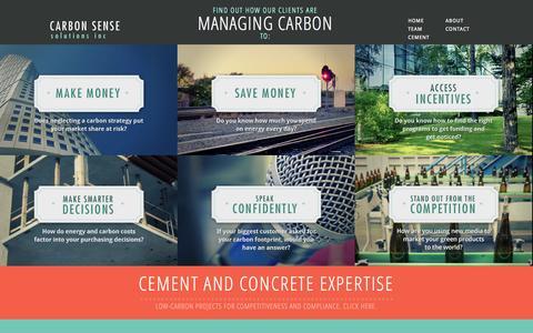 Screenshot of Home Page carbonsensesolutions.com - Carbon Sense - captured Sept. 29, 2014