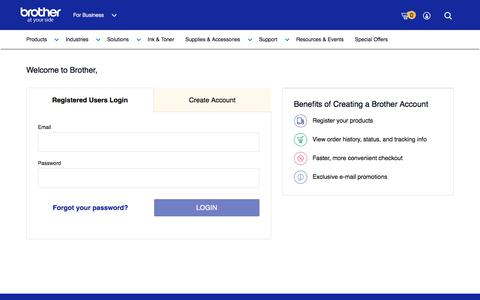 Screenshot of Login Page brother-usa.com - Login - My Account - Brother - captured Oct. 30, 2019