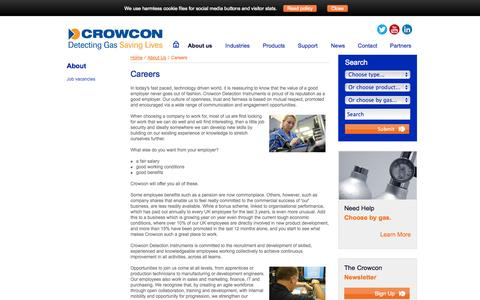 Screenshot of Jobs Page crowcon.com - careers at Crowcon - captured Oct. 10, 2014