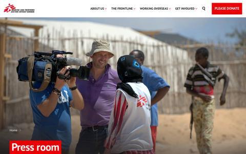 Screenshot of Press Page msf.org.uk - Press room | MSF UK - captured Nov. 28, 2016