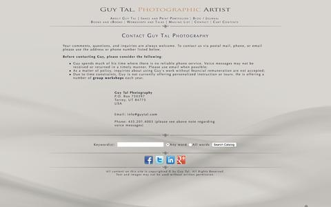 Screenshot of Contact Page guytal.com - Contact Guy Tal Photography - captured July 2, 2018