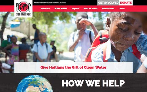 Screenshot of Home Page stophungernow.org - Stop Hunger Now | Working Together To End World Hunger - captured Aug. 16, 2015