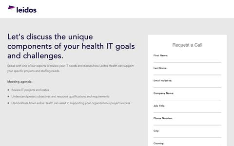 Screenshot of Landing Page leidos.com - General Appointment Request | Leidos Health - captured Jan. 29, 2019